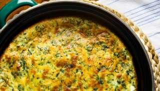 Mooi bij een soufflé van spinazie