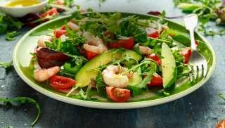 Verrukkelijk bij een salade gamberetti